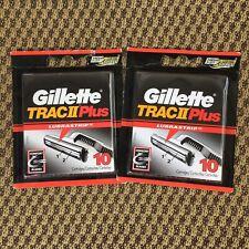 2 Packs 20 Total Genuine Gillette Trac II Plus Razor Blades with Lubrastrip NEW