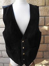 Men's Black Suede Leather Vest Size L Made by Joe Wear Clothing VERY NICE!