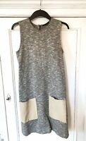 COS Grey Jersey Shift Sleeveless Dress With Leather Pockets XS