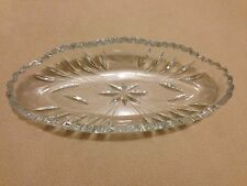 Vintage ABP Pressed Glass Celery Saw Tooth Dish Flowers & Butterfly Unknown Make