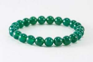 """Green Dyed Agate 6mm 8mm or 10mm Round Gemstone Beaded Stretch Bracelet 6""""-8.5"""""""
