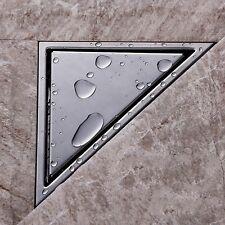 Triangle Tile Insert Stainless Steel Shower Bathroom Floor Drain Waste Grate