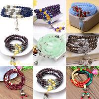 Men Women 8mm Natural Round Gemstone Bead Handmade Beads Bracelets Charm