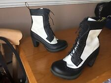 Dr Martens Regina black white leather brogue heels UK 6 EU 39 goth punk Darcie
