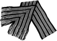 Mens Black/White Striped Scarf