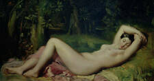 Oil painting female portrait - nude young beauty sleeping in forest Hand painted