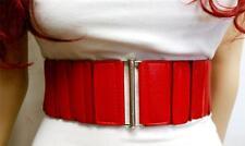 DARK RED FASHIONABLE ELASTIC  WIDE BELT SLEEK BUCKLE DESIGN SIZE S M L