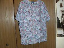 women size (large)carols blue spring has sprung short sleeve scrub top