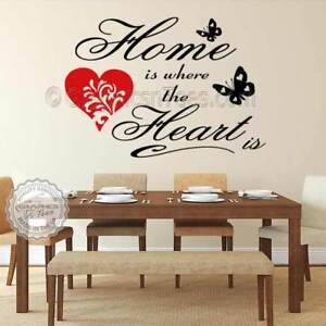 Family Wall Sticker Inspirational Quote Home is Where The Heart is with Heart