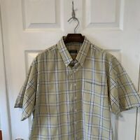 Mens BURBERRY Short Sleeve Check Shirt Green Blue Size XL