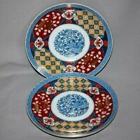 """2 SMITHSONIAN INSTITUTION IMARI PATTERN 8-3/8"""" COUPE SALAD PLATES Excellent"""