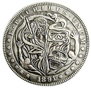 Santa Muerte Novelty V5 Head Tail Lucky Challenge Coin US SELLER FAST SHIPPING