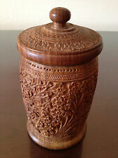 Vtg Asian Indian Carved Wood Circular Tea Caddy Box w/ Lid Hundred Flowers - EX+