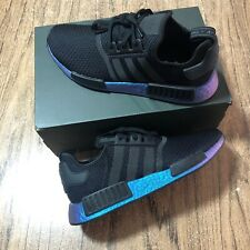 Adidas NMD R1 Black Metallic Blue Boost Men's Shoes FV3645 Size 8.5 NEW IN BOX