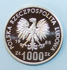 Poland 1000 Zlotych 1988 Proof Silver Coin - PROBA - Soccer 1990 ****Scarce