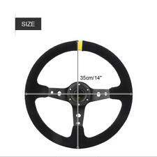 350mm 6 Bolt JDM Sport Racing Drifting Steering Wheel Suede Leather Horn Button