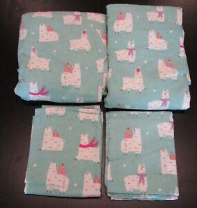 🦙 Pottery Barn Teen HAPPY LLAMA Organic Cotton Flannel Sheet Set FULL SIZE 🦙