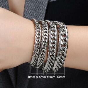 Men's Large Stainless Steel Silver 316l Link Chain Bracelet 8--14mm