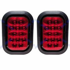 """5x3"""" Red Rectangle 12 LED Stop/Turn/Tail Truck Light Grommet & Pigtail - Qty 2"""