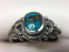 Vintage Blue Persian Turquoise Inlay Band Ring Sterling Silver Size 5 1/2 ND 5.5
