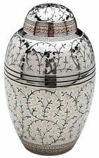 Brass Adult Cremation Urn for Ashes - Silver & Engraved Floral Design.