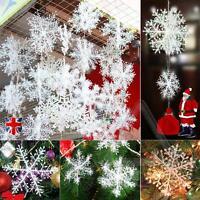 30Pcs Christmas White Snowflakes Xmas Tree Decorations Ornaments 11CM UK SELLER