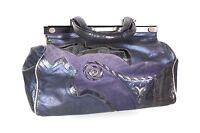 7B Damen Tasche Leder blau silber metallic Vintage Doktortasche Shabby-Look