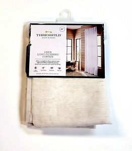 "Threshold Linen Blend Light-Filtering Curtain Panel Natural Beige/White 54 x 95"""