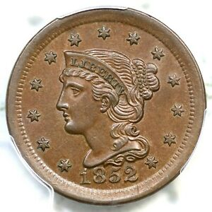 1852 N-16 PCGS MS 63 BN Braided Hair Large Cent Coin 1c