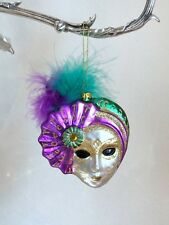 Venetian Mask Feather Blown Glass Christmas Tree Ornament Decor Gold Glitter