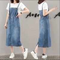New Women Denim Pinafore/Dungaree Dress Slim fit Lady Jeans Overall Long Dresses