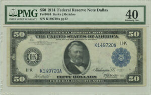 1914 $50 FRN Federal Reserve Note Dallas, TX PMG XF 40 Fr #1064