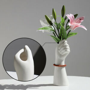 Nordic Ceramic Hand Shape Vase Holder Flower Arrangement Pot Creative Art Decor