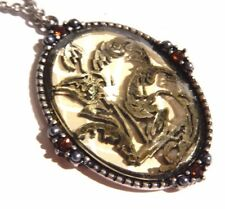 TRANSLUSCENT GOLD & SILVER WILDFLOWER CAMEO gothic victorian pendant necklace 4H