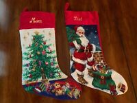 NEW Lillian Vernon Needlepoint Christmas Stocking Mom OR Dad Expedited Shipping