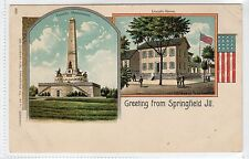 GREETINGS FROM SPRINGFIELD: Illinois USA Early Gruss Aus Style postcard (C11705)