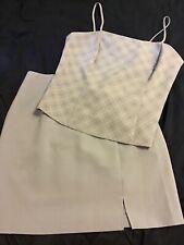 blue/lavender Y2K office apparel, skirt and crop top set. vintage size 7/8 women