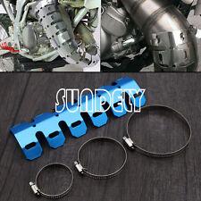 Universal Dirt Bike Exhaust Heat Shield Guard 2 Stroke Pipe Protector Kit Blue