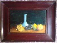 Tableau Impressionniste Grappes de raisin sur entablement Belle Huile signée
