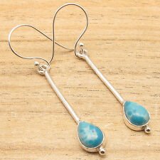 Expensive-Looking ! Simulated Larimar Gemstone Earrings, Silver Plated Jewelry