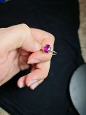 Rubellite Tourmaline Gemstone Ring in Sterling Silver 925 in different sizes