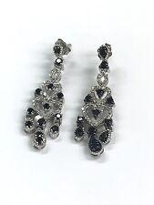 925 Sterling Silver Chandelier Drop Heart Earrings - Black Onyx & 20 pt Diamonds