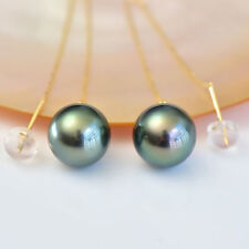 Charming AAA+ 10-11mm Real natural Tahitian black round pearl earrings 18k Gold