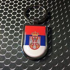 Serbia Srbija Flag Domed Stainless Keychain Proud Flag Car 3D 45mm x 30mm