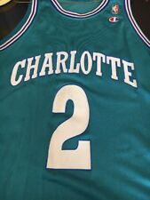 Larry Johnson #2 Charlotte Hornets Vtg CHAMPION NBA Jersey Size: 44