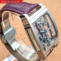 Mens Flywheel Movement Exhibition Manual Mechanical Wrist Watch Silver Purple