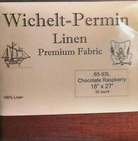 Wichelt Permin PREMIUM LINEN FABRIC 32 Ct Cross Stitch 18 x 27 CHOCO RASPBERRY