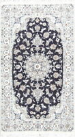 Floral Oriental Nain Area Rug Wool Hand-Knotted Medallion Navy Blue Carpet 4x7