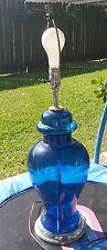 Vintage Mid Century Modern blue Glass and Chrome Table Lamp Laurel Era