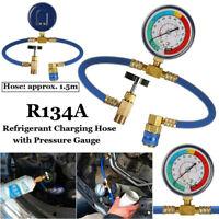 R134a AC HVAC Recharge Measuring Refrigerant Hose Can Tap w/Pressure Gauge CS